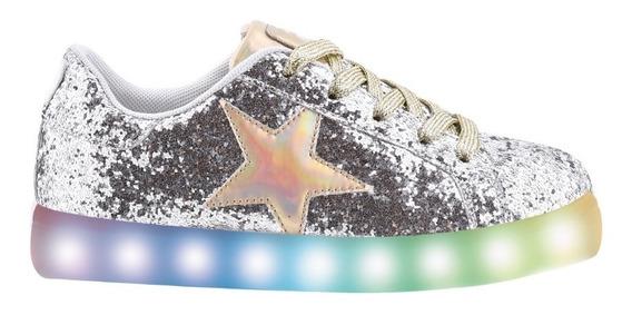 Zapatillas Star Glitter Plateado Con Led- Footy Oficial