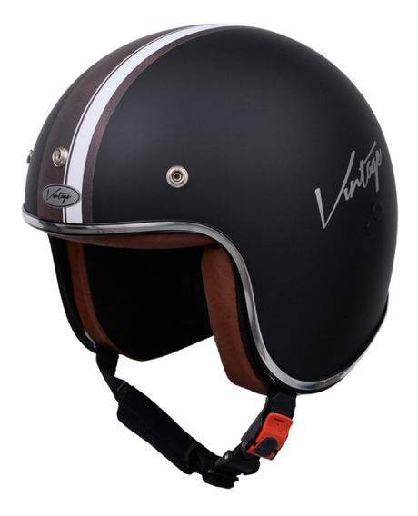 Casco para moto abierto Vértigo Vintage Maya negro mate talle M