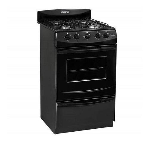 Imagen 1 de 4 de Cocina Escorial Candor S2 gas natural 4 hornallas  negra 220V puerta  con visor