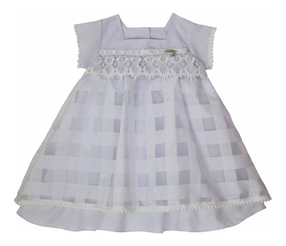 Roupa Para Batizado Bebê Vestido Branco Katitus