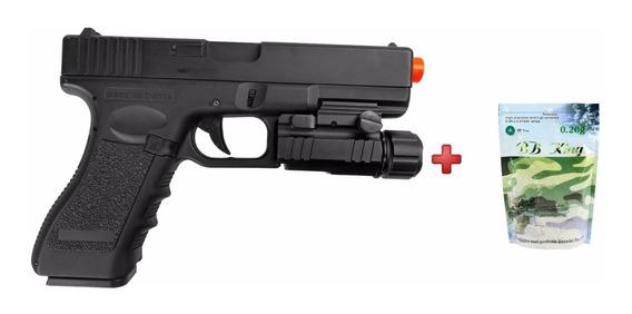 Pistola Airsoft Elétrica Glock Cm030+ Lanterna Ntk+ 5000 Bbs