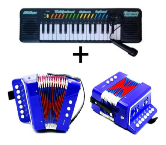 Kit Instrumento Musical Infantil Acordeon + Teclado Music