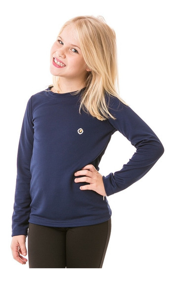 Camiseta Uv Protetor Solar Infantil Feminina Manga Longa Dry