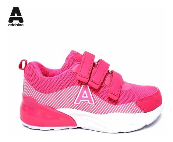Zapatillas Addnice Niñas Terra Velcro Fucsia Rosa