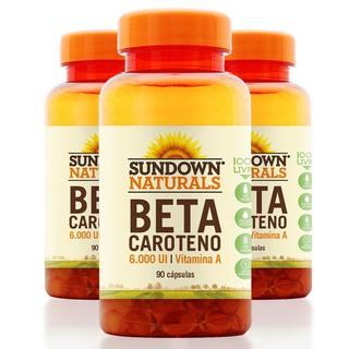 Kit 3 Beta Caroteno 6000ui - 90 Cápsulas - Sundown