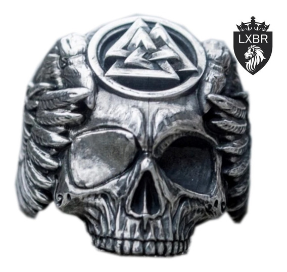 Anel Lançamento Aço Inox Caveira Viking Maçonaria Punk Moto Corvo Diabo Iluminatti Masculino Hip Hop Ice Out Lxbr A194