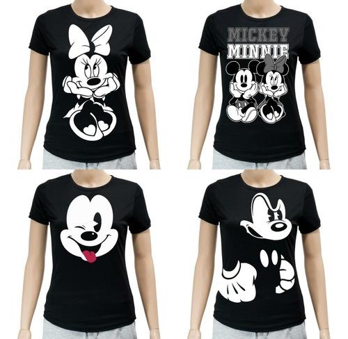 Remeras Camisetas Mickey Minie Mouse Para Mujer Y Niñas