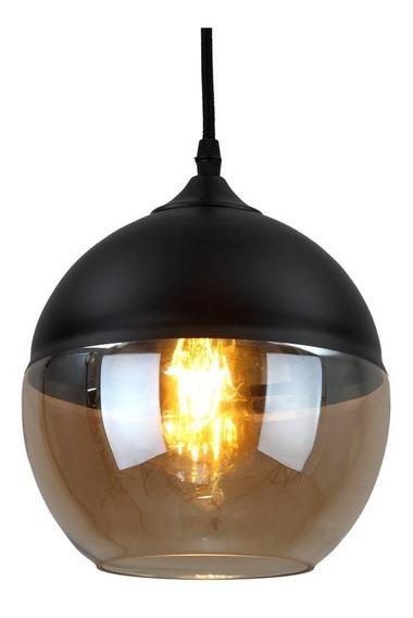 Lámpara Redonda Con Cristal Ámbar Tipo Vintage,mod Trv-01