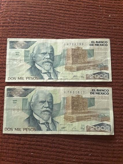 Par De Billetes De 2000 Pesos Méxicanos