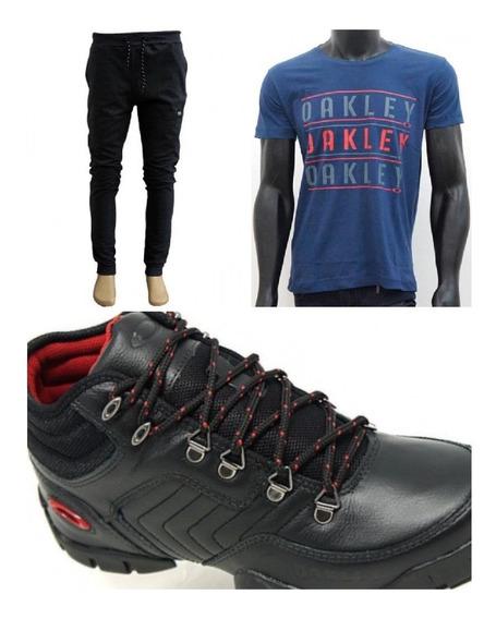 Kit Bota Couro Oakley+calça De Moletomoakley+camiseta Oakley