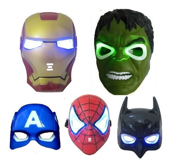 Set Mascaras Superheroes X 5 Cap,a,spider,ironman,hulk Batma
