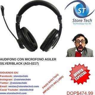 Audifono Con Microfono Agiler Silver/black (agi-0217)