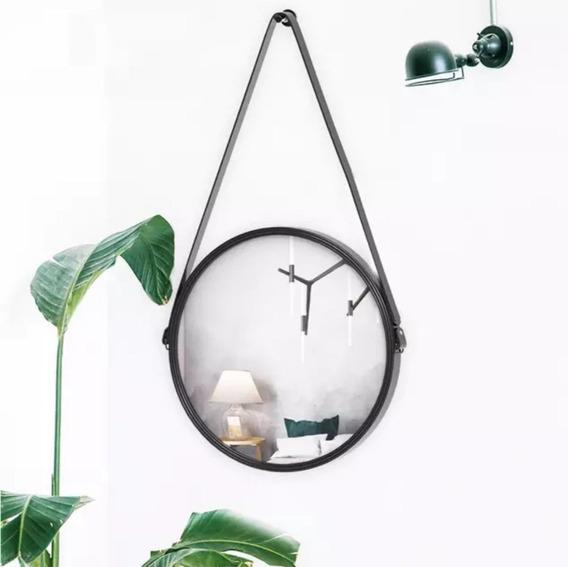 Espelho Redondo Com Alça De Couro Preta Decorativo 45 Cm