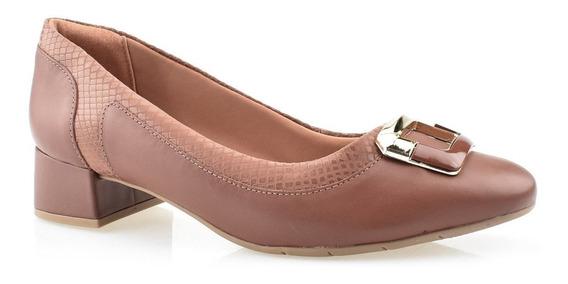 Sapato Comfortflex Salto Baixo Quadrado Com Fivela 1995302