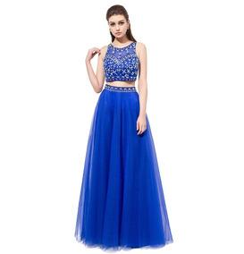 Vestido Fiesta Crop Top Falda Naranjo Azul Talla 6 10 Ep 302