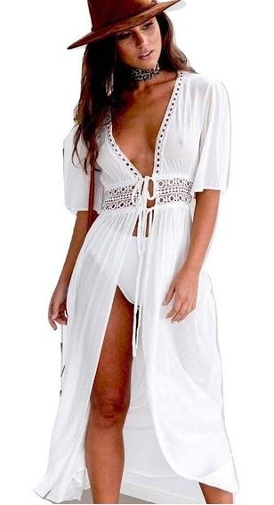 Salida De Playa Larga Tipo Vestido Pareo Cover Up Mujer Elegante Colores Lisos Blusa
