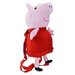Mochila De Felpa Peppa Pig Rosa Roja