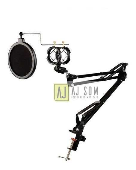Pedestal Articulado+shock+pop,haste P/microfones,arcano,akg.