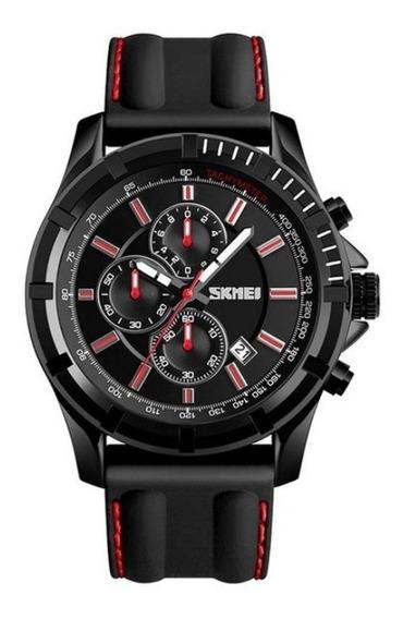 Relógio Masculino Skmei Analógico 1352 - Preto E Vermelho