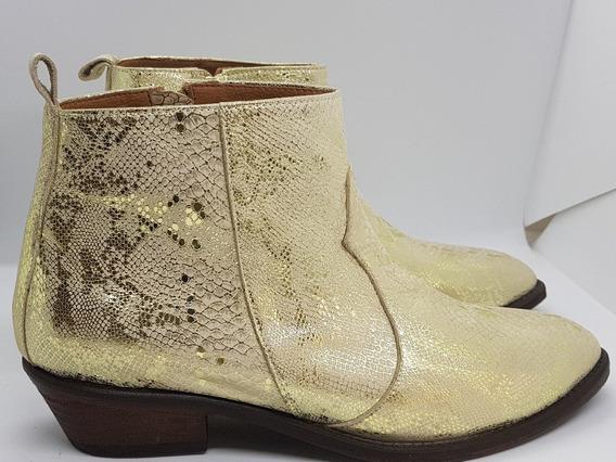 Bota Cuero Snake Color Oro Justa Osadía Zapato Mujer