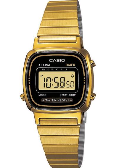 Relógio Casio Feminino La670 Tamanho Mini Dourado/ Preto