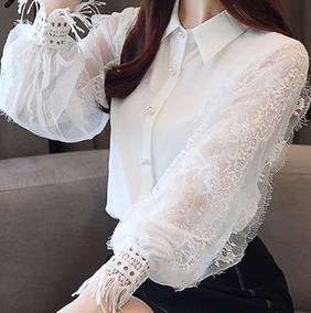 Blusa Camisa Feminina Social Renda Luxofoto Real Fretegratis