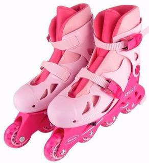 Patins Roller In-line 34 A 41 Cinza Ou Rosa Regulável Adulto