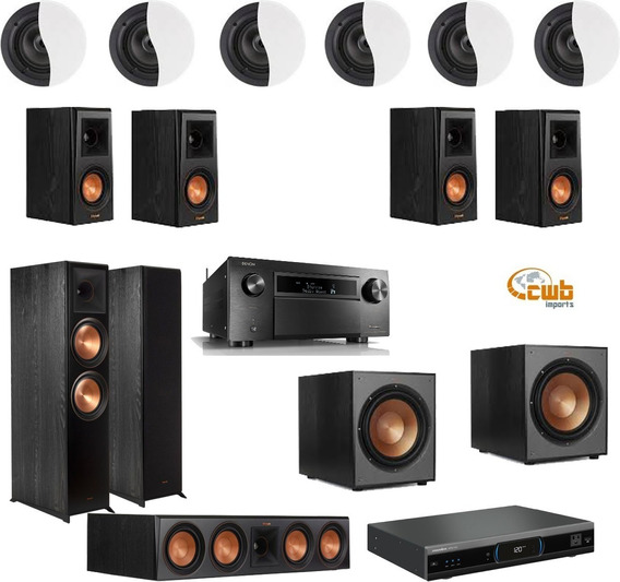 Kit Home Dolby Atmos 7.2.6 Denon X8500 Caixas Klipsch + Cabo