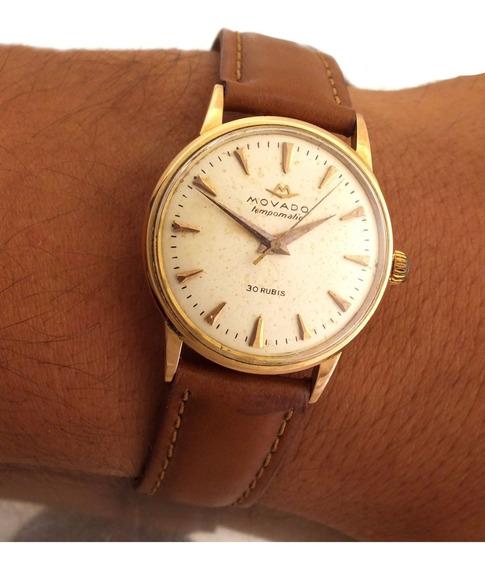 Relógio Masculino Movado Tempomatic Em Ouro Rose 18k Automatico 30 Jewels Rubis J10166