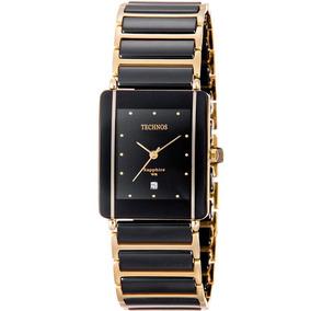Relógio Technos Preto Dourado Cerâmica Original Gn10aapai/4p