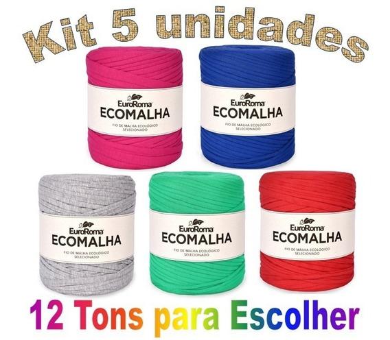 Fio De Malha Ecomalha Euroroma 80m Crochê Kit Com 5