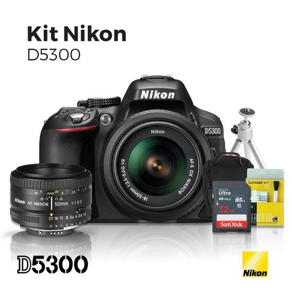 Câmera Nikon D5300 18-55mm + Lente Nikon 50mm 1.8 D + Kit