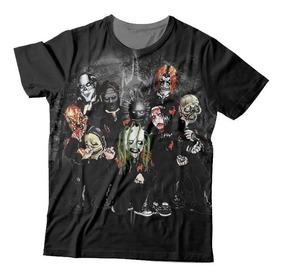 Camiseta Slipknot Máscaras Cartoons - Estampa Total
