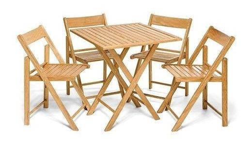 Conjunto Mesa 70x70 C/ 4 Cadeiras Flexo Gourmet Natural