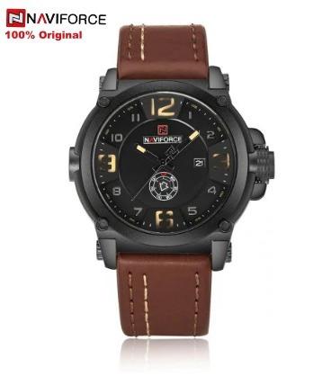 Relógio Masculino Naviforce 9099 Pulseira Em Couro Barato A Prova D