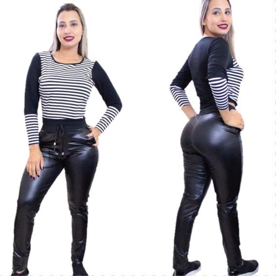 Conjunto Cropped + Calça Legging Disco Hot Pants Em Cirre