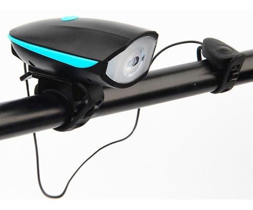 Linterna Blanca Con Pito Bicicleta Luz Recargable 250 Lumens