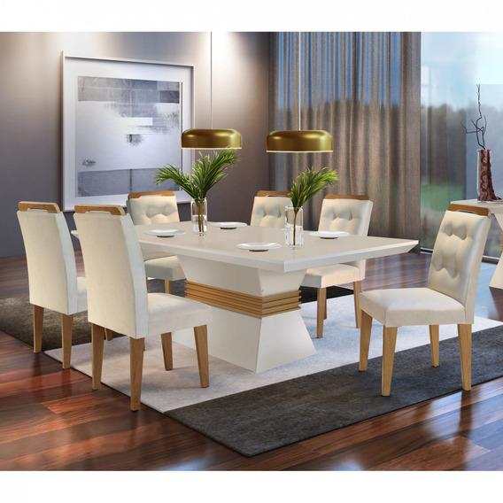 Sala Jantar Tampo Mdf 6 Cadeiras Clarice Siena Móveis Jb