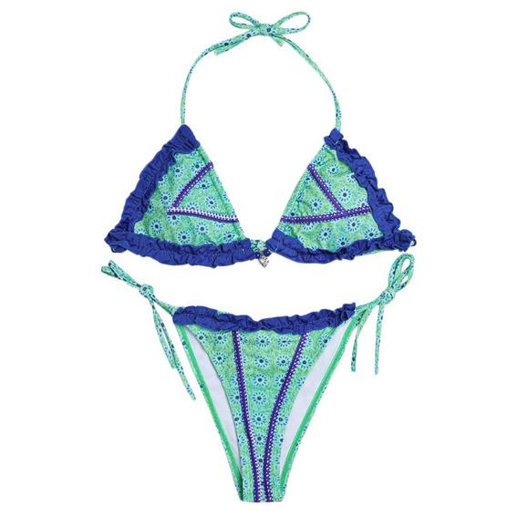 Verano Verde Impresión Flounce Cadena Bikini Set Damas Del