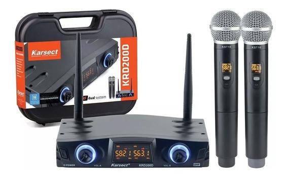 Microfone Karsect Sem Fio Krd200 D Uhf Duplo Mão Palestra