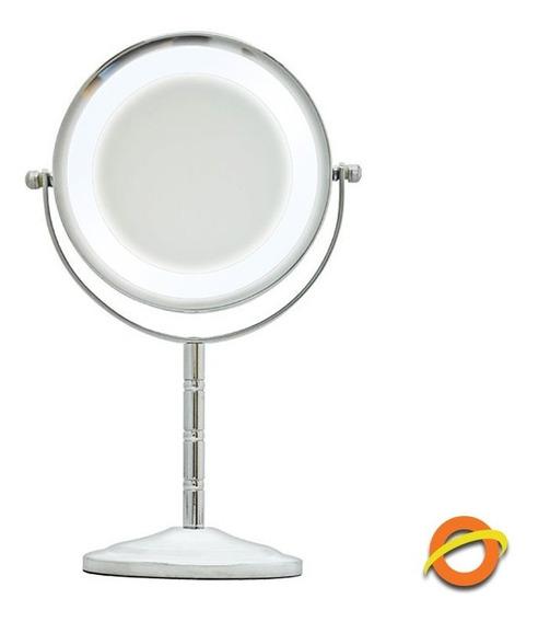 Espejo Doble Luz Led 5 X Aumento Maquillaje Cuidado Personal