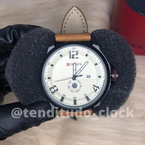 Relógio Esporte Fino Curren 8253 - Pulseira De Couro Marrom