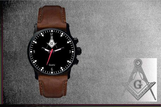 Relógio De Pulso Personalizado Maçonaria Maçon - Cod.1116