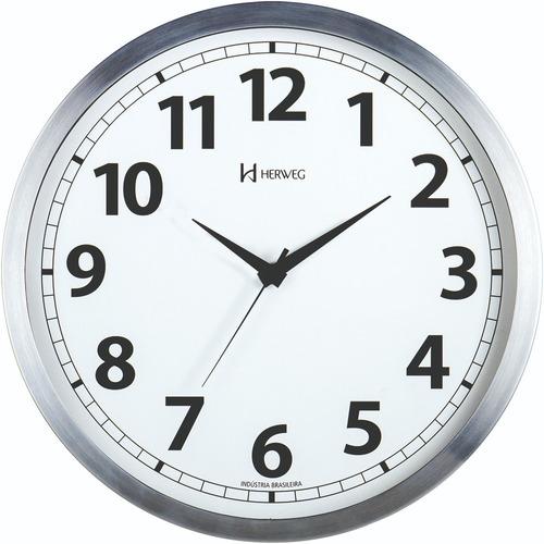 Relógio Silencioso Parede 25cm Sweep Aluminio Herweg 6710s