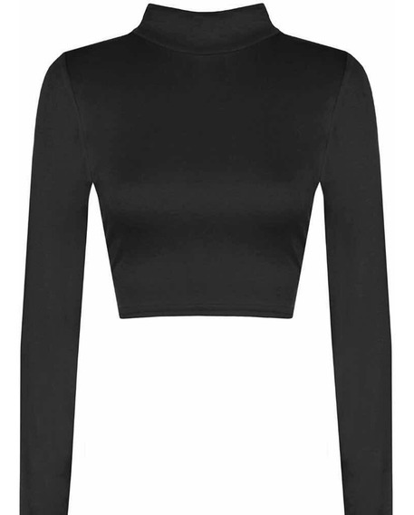 Crop Top Mujer Media Polera Manga Top Corto Sexy Moda Dama