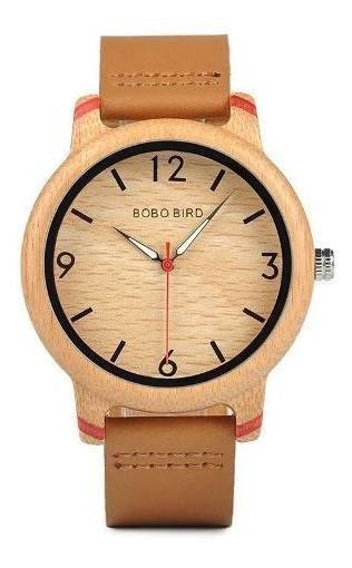 Relógio Pulso Madeira Bambu Bobo Bird Original P. Em Couro