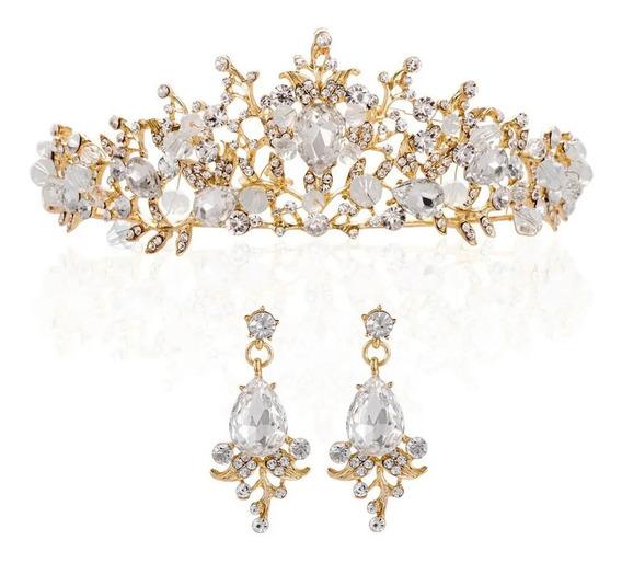 Hermosa Corona Dorada Novia Coronación Xv Años Boda