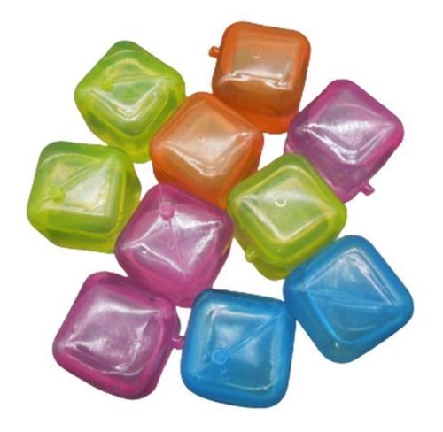 50 Cubos De Gelo Artificial Reutilizável Coloridos