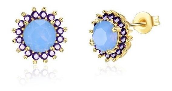 Brincos Pequenos Pedra Opala + Zircônias Delicado Feminino