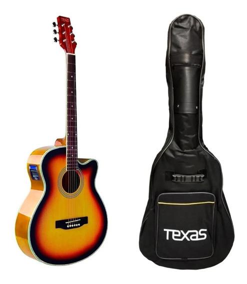 Guitarra Electro Acustica Texas Ag60 Eq Afinador Funda